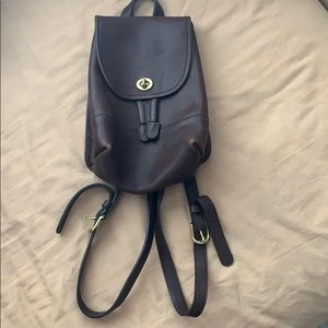 Brown leather w gold hardware coach mini backpack